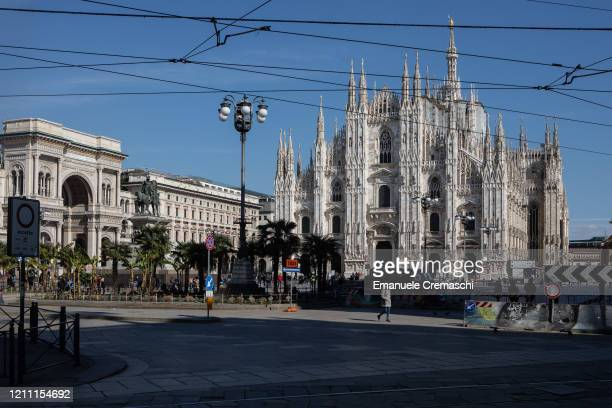 A general view of Piazza del Duomo square and the Cathedral on March 08 2020 in Milan Italy Prime Minister Giuseppe Conte announced overnight a...