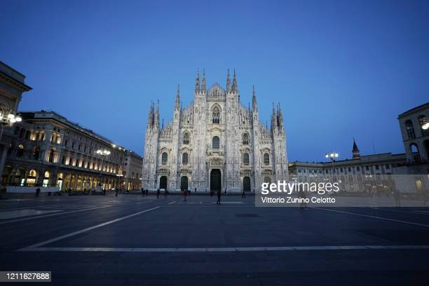 General view of Piazza Duomo on March 10, 2020 in Milan, Italy. The Italian Government has taken the unprecedented measure of a nationwide lockdown,...