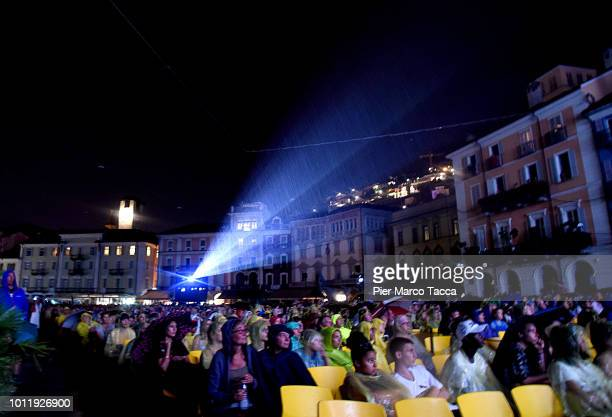 General view of Piazza Grande under a thunderstorm during the 71st Locarno Film Festival on August 5 2018 in Locarno Switzerland