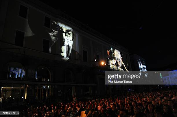A general view of Piazza Grande with the images of Howard Shore during the 69th Locarno Film Festival on August 11 2016 in Locarno Switzerland