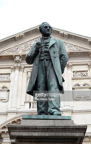 A general view of Piazza San Fedele and Alessandro Manzoni statue is seen on October 8 2012 in Milan Italy
