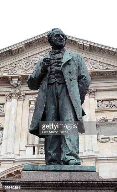 General view of Piazza San Fedele and Alessandro Manzoni statue is seen on October 8, 2012 in Milan, Italy.