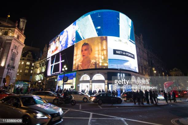 General view of Piccadilly Circus in central London prior to Earth Hour 2019 which sees buildings and landmarks in cities around the world turn off...