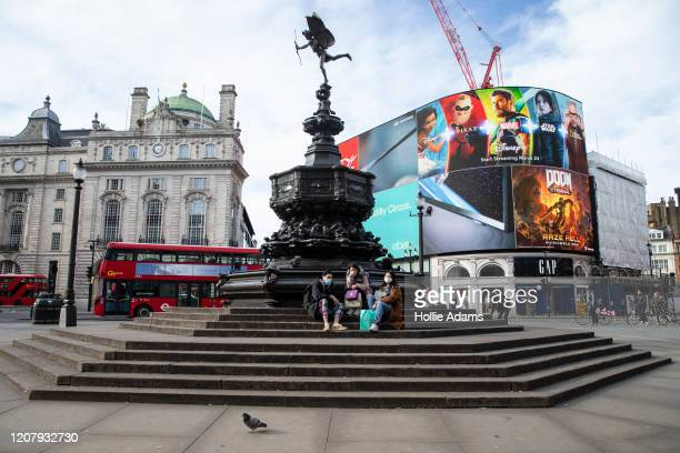 General view of Piccadilly Circus on March 21 2020 in London England Londoners are feeling the impact of shutdowns due to Coronavirus