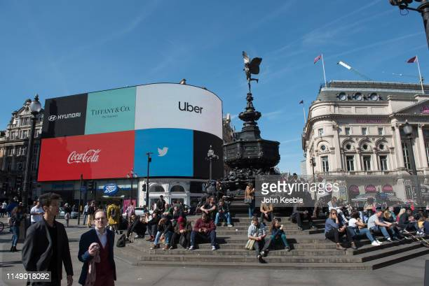 "General view of Piccadilly Circus, Shaftesbury Memorial Fountain, also known as ""Eros"" and advertising billboard displaying adverts for Hyundai,..."