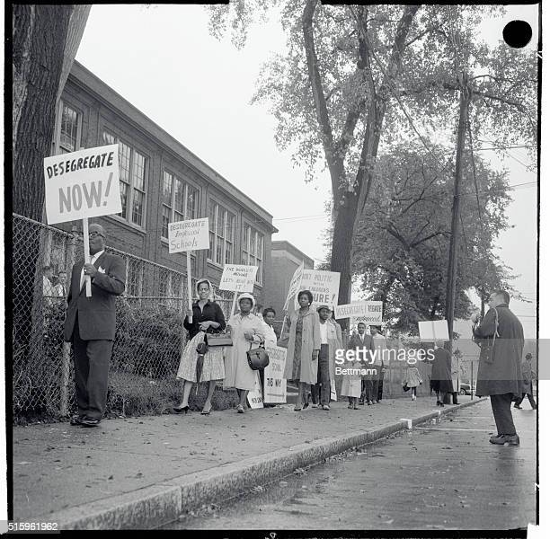 General view of picketers at Lincoln Elementary School in Englewood, New Jersey.