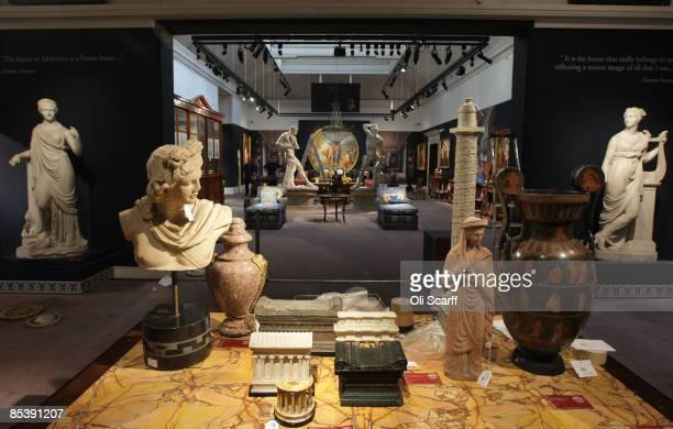 General view of pieces for sale in Sotheby's auction house for the forthcoming auction of furniture and works of art owned by Gianni Versace,...