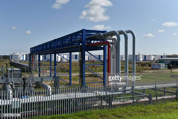 General view of pipelines that feed fuel storage tanks belonging to Oikos Storage Limited, a marine fed oil, fuel and bulk liquid import and storage...