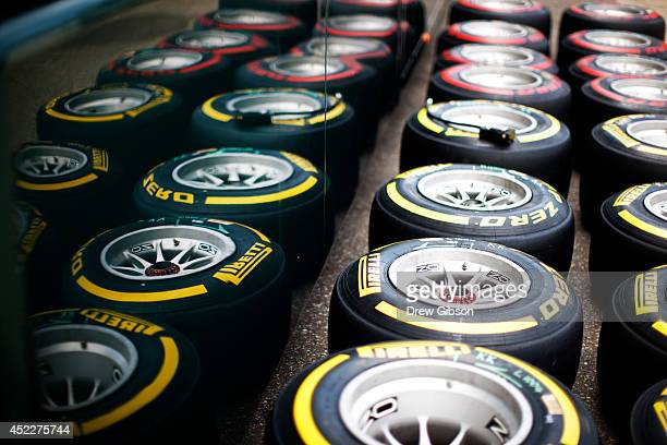 A general view of Pirelli tyres during previews ahead of the German Grand Prix at Hockenheimring on July 17 2014 in Hockenheim Germany