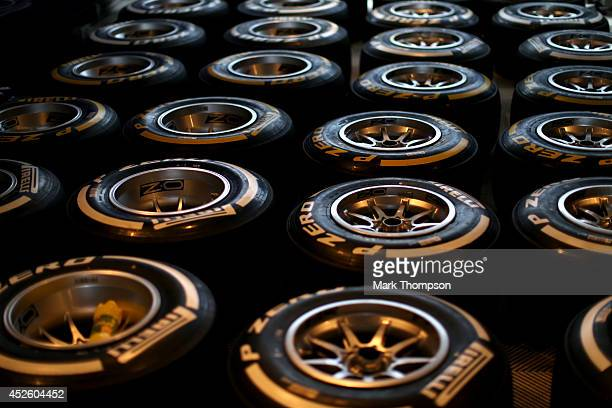 A general view of Pirelli tyres outside the Infiniti Red Bull Racing garage during previews ahead of the Hungarian Formula One Grand Prix at...
