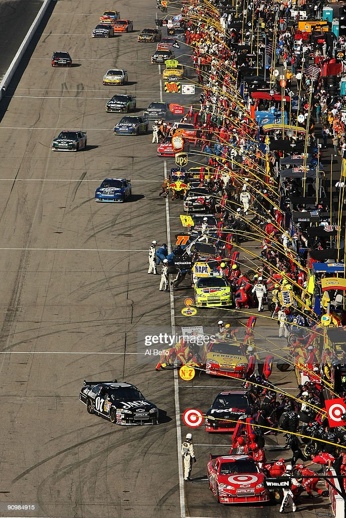 A general view of pit road during the NASCAR Sprint Cup Series Sylvania 300 at the New Hampshire Motor Speedway on September 20, 2009 in Loudon, New Hampshire.
