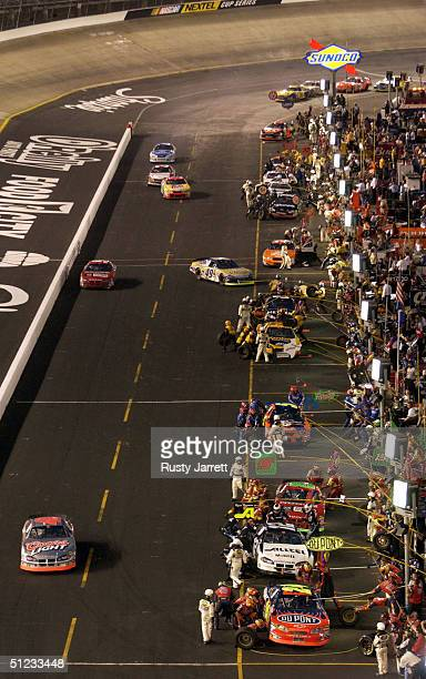 A general view of pit road is seen during the NASCAR Nextel Cup series Sharpie 500 on August 28 2004 at Bristol Motor Speedway in Bristol Tennessee
