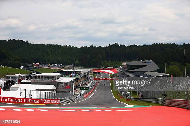 A general view of pit straight leading to turn one during previews to the Formula One Grand Prix of Austria at Red Bull Ring on June 18 2015 in...