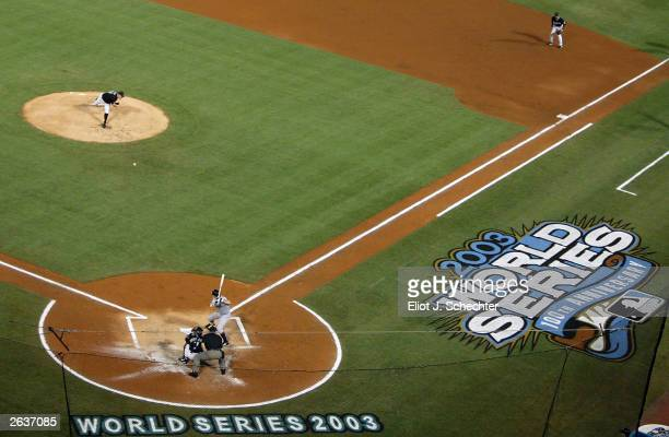 A general view of pitcher Brad Penny of the Florida Marlins delivering a pitch against the New York Yankees in the first inning of game five of the...
