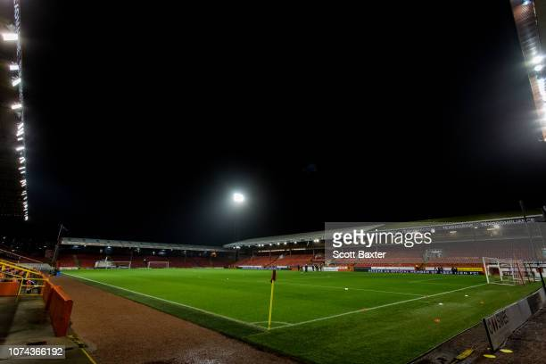 A general view of Pittodrie Stadium prior to kick off the Ladbrokes Scottish Premiership match between Aberdeen and Dundee at Pittodrie Stadium on...