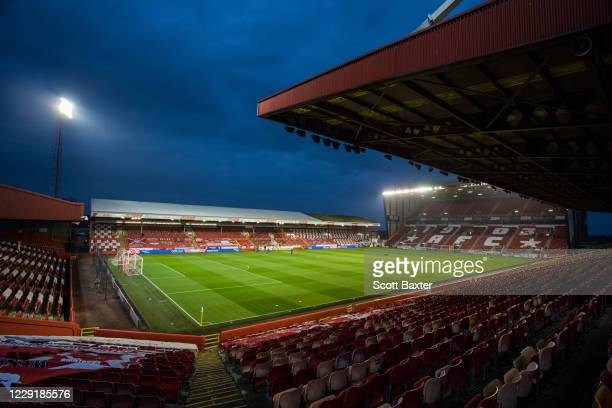 A general view of Pittodrie Stadium prior to the Ladbrokes Premiership match between Aberdeen and Hamilton at Pittodrie Stadium on October 20 2020 in...