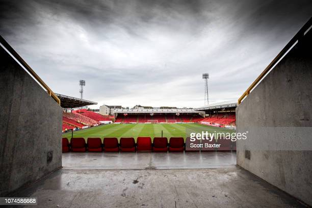 A general view of Pittodrie Stadium prior to the Ladbrokes Scottish Premiership match between Aberdeen and Hearts at Pittodrie Stadium on December 22...