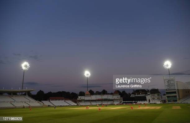 General view of pkay during the T20 Vitality Blast match between Notts Outlaws and Lancashire Lightning at Trent Bridge on September 11, 2020 in...