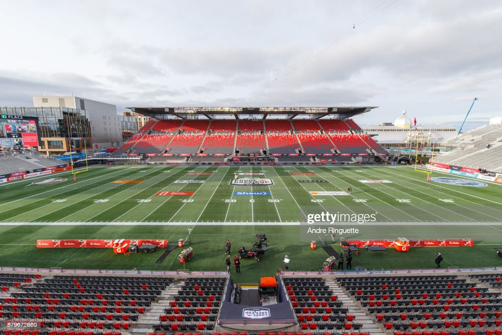 A general view of TD Place Stadium prior to the 105th Grey Cup Championship Game between the Calgary Stampeders and the Toronto Argonauts on November 26, 2017 in Ottawa, Canada.