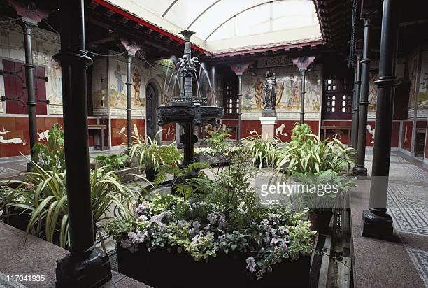 A general view of plants and a fountain in the roof garden at Cardiff Castle Cardiff Wales May 1989