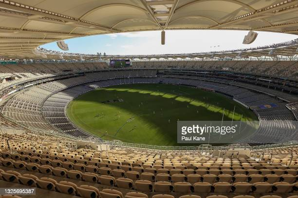 General view of play 1during the round 15 AFL match between the West Coast Eagles and the Western Bulldogs at Optus Stadium on June 27, 2021 in...