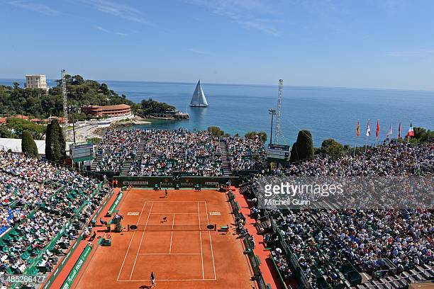 A general view of play as a large sailing boat goes past on day five of the ATP Monte Carlo Masters at the MonteCarlo Country Club on April 17 2014...