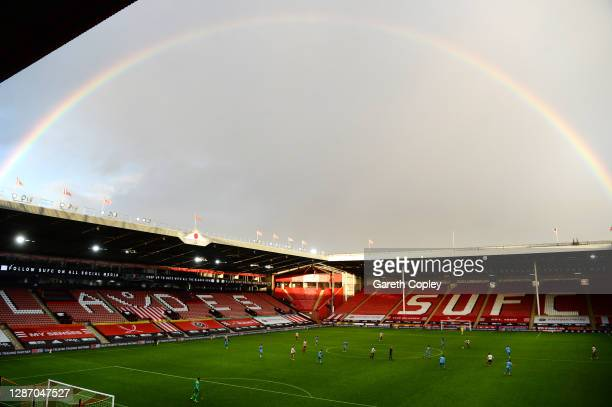 General view of play as a rainbow appears during the Premier League match between Sheffield United and West Ham United at Bramall Lane on November...