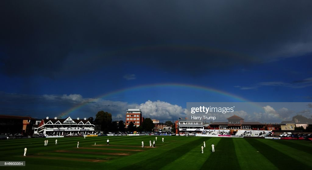 General view of play as a rainbow appears over the ground during Day Three of the Specsavers County Championship Division One match between Somerset and Lancashire at The Cooper Associates County Ground on September 14, 2017 in Taunton, England.