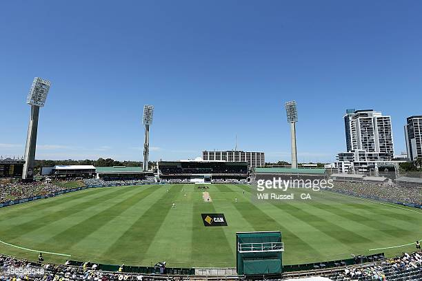 A general view of play as Australia bats during day one of the second Test match between Australia and New Zealand at WACA on November 13 2015 in...