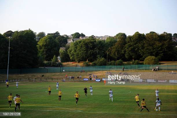 General view of play as Bobby Reid makes a run during the PreSeason Friendly match between Bodmin Town and Cardiff City at Priory Park on July 18...