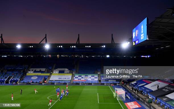 General view of play as Bruno Fernandes of Manchester United takes a free kick during the Emirates FA Cup Quarter Final match between Leicester City...