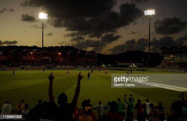 General view of play as Carlos Brathwaite of the West Indies dismisses England captain Eoin Morgan the sun sets during the First Twenty20...