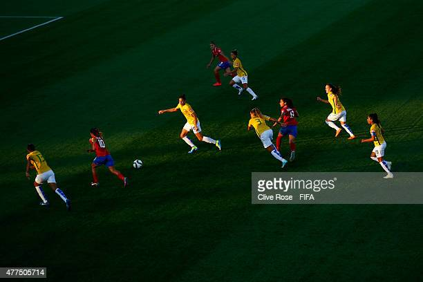 A general view of play as Costa Rica break through the Brazilian defence during the FIFA Women's World Cup 2015 Group E match between Costa Rica and...