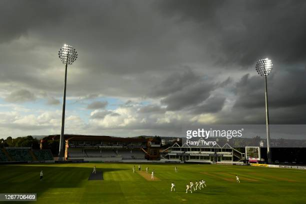 General view of play as Craig Overton of Somerset prepares to bowl during Day One of the Bob Willis Trophy match between Somerset and Gloucestershire...