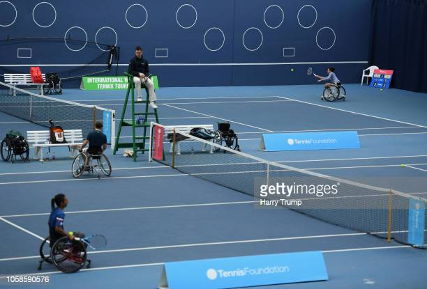General view of play as Dana Mathewson of the USA plays a shot during Day Two of the Bath Indoor Wheelchair Tennis Tournament 2018 at the University...