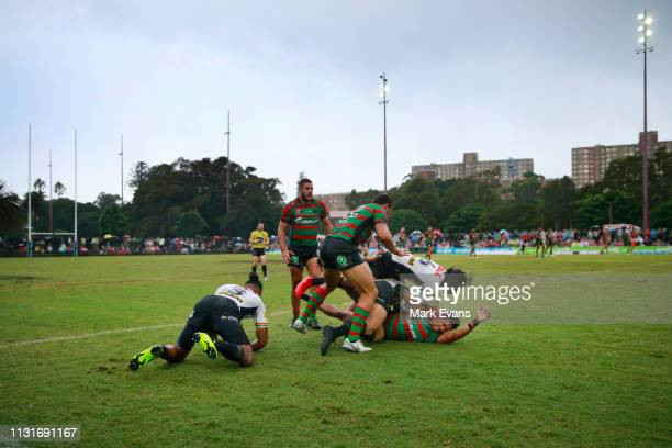 A general view of play as Dane Gagai of Souths is tackled during the NRL trial match between the South Sydney Rabbitohs and the Penrith Panthers at...