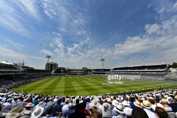 A general view of play as England bat during day one of the 1st Investec Test Match between England and South Africa at Lord's Cricket Ground on July...