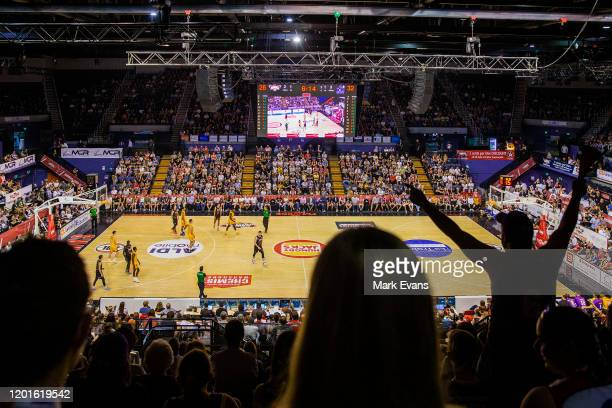 General view of play as fans cheer during the round 17 NBL match between the Illawarra Hawks and the Sydney Kings at WIN Entertainment Centre on...
