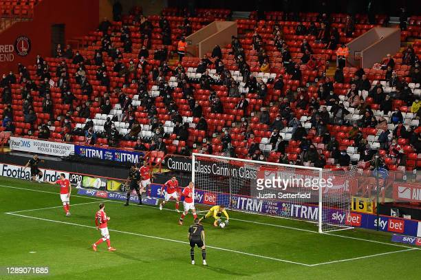 General view of play as fans look on from their socially distanced position in the stands during the Sky Bet League One match between Charlton...