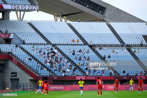 General view of play as fans watch on during the Women's First Round Group F match between China and Brazil during the Tokyo 2020 Olympic Games at...