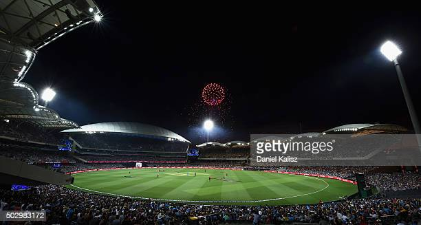 General view of play as fireworks are set off for new years eve celebrations during the Big Bash League match between the Adelaide Strikers and the...