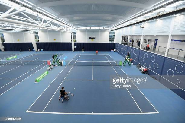 General view of play as James Shaw of Great Britain plays a shot during Day Two of the Bath Indoor Wheelchair Tennis Tournament 2018 at the...