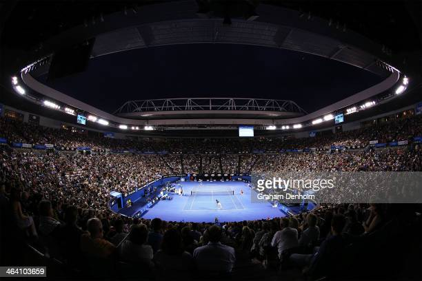 A general view of play as JoWilfried Tsonga of France competes against Roger Federer of Switzerland in their fourth round match during day eight of...