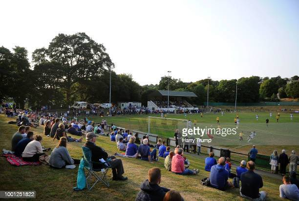 General view of play as Kadeem Harris of Cardiff City takes a shot during the Pre-Season Friendly match between Bodmin Town and Cardiff City at...