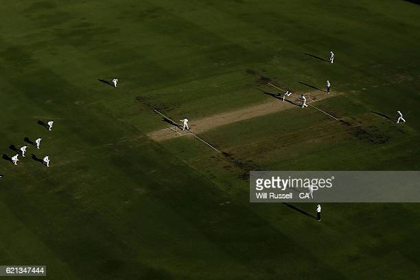 A general view of play as Kagiso Rabada of South Africa bowls to Steve Smith of Australia during day four of the First Test match between Australia...