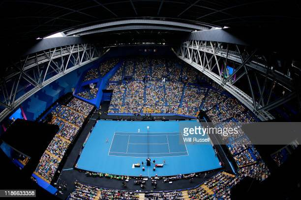 General view of play as Kristina Mladenovic of France plays to Ash Barty of Australia during the match in the 2019 Fed Cup Final tie between...