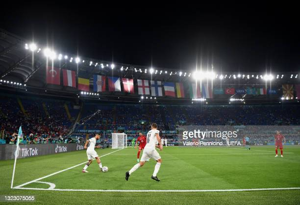 General view of play as Lorenzo Insigne of Italy controls the ball during the UEFA Euro 2020 Championship Group A match between Turkey and Italy at...