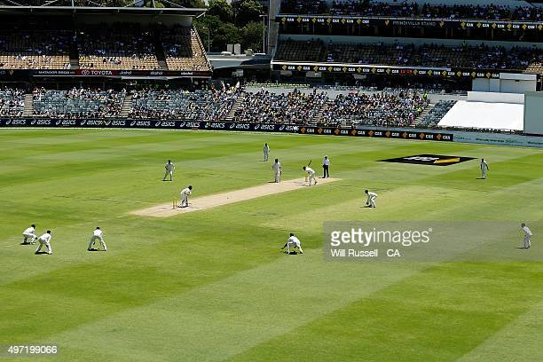 A general view of play as Mitchell Starc of Australia bowls during day three of the second Test match between Australia and New Zealand at WACA on...