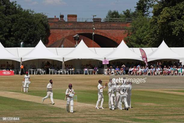 Morne Morkel of Surrey bowls during day 3 of the Specsavers County Championship Division One match between Surrey and Somerset on June 22 2018 in...