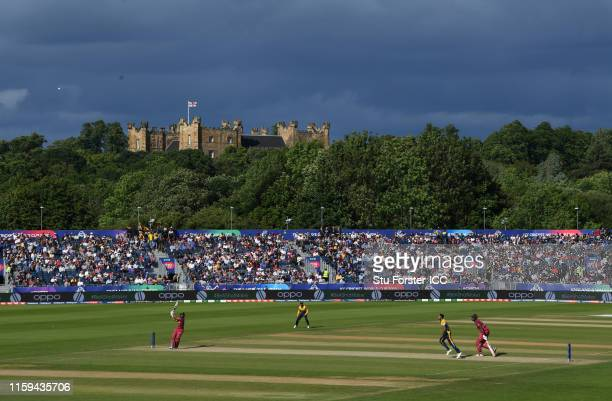General view of play as Nicholas Pooran of West Indies plays a shot for six during the Group Stage match of the ICC Cricket World Cup 2019 between...